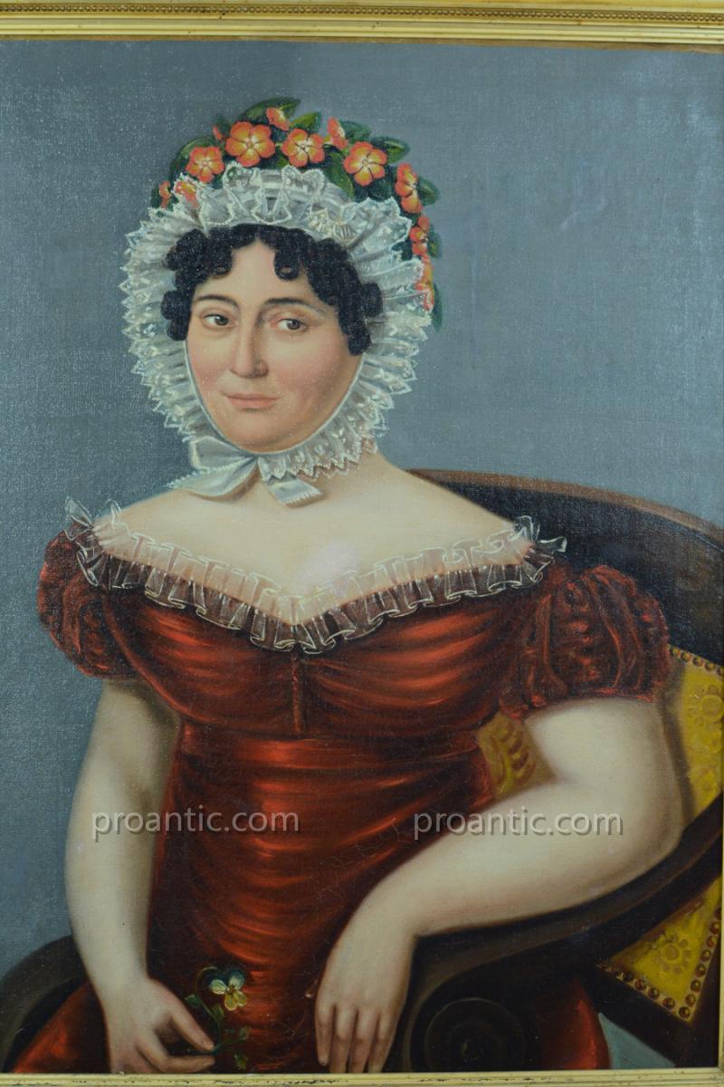 Tableau Ancien Portrait Empire Mariage Jeune Femme Coiffe Costume Coiffe Robe Hst XIXème