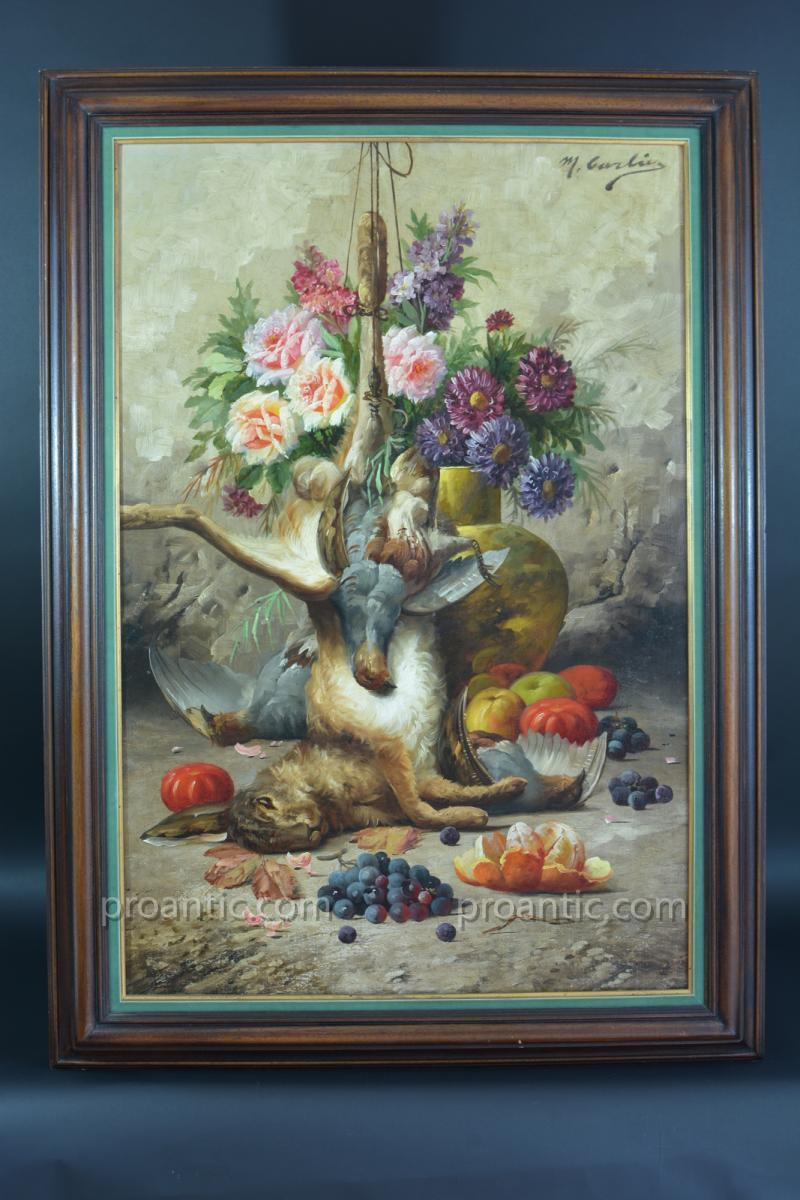 Details On Beautiful Old Table Carlier Still Life Flowers Fruit Wildlife Still Life 19th
