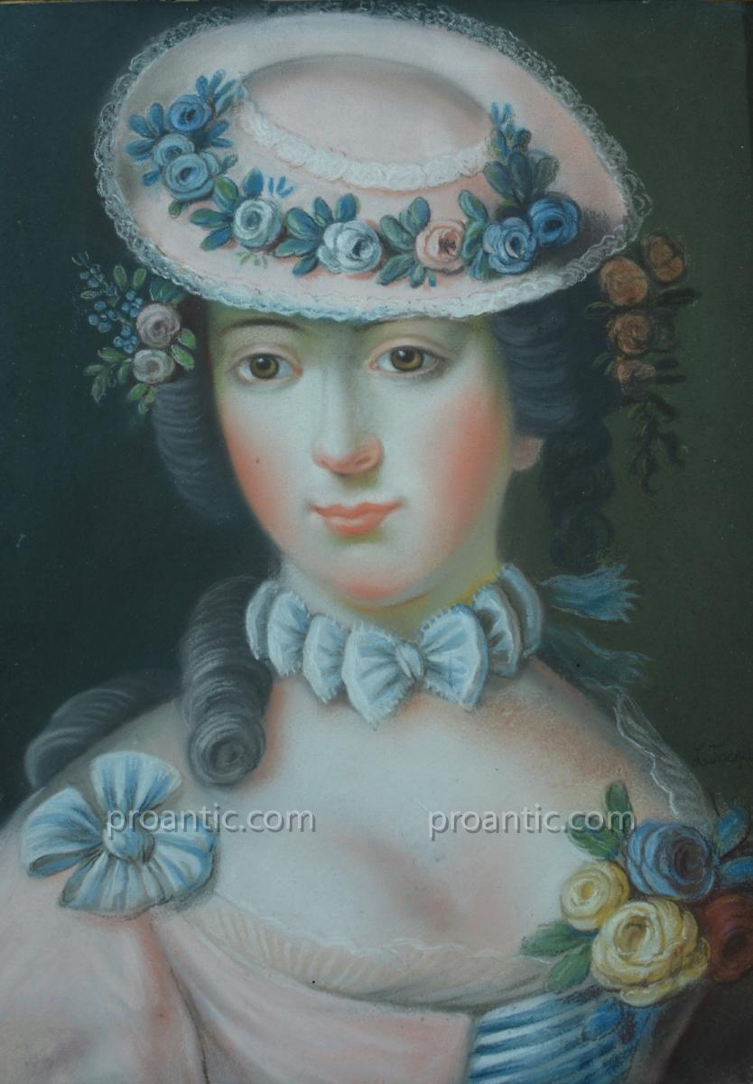 ancien Tableau Portrait Pastel Jeune Femme Louis XVI Pompadour Signé Louis Tocqué 18éme