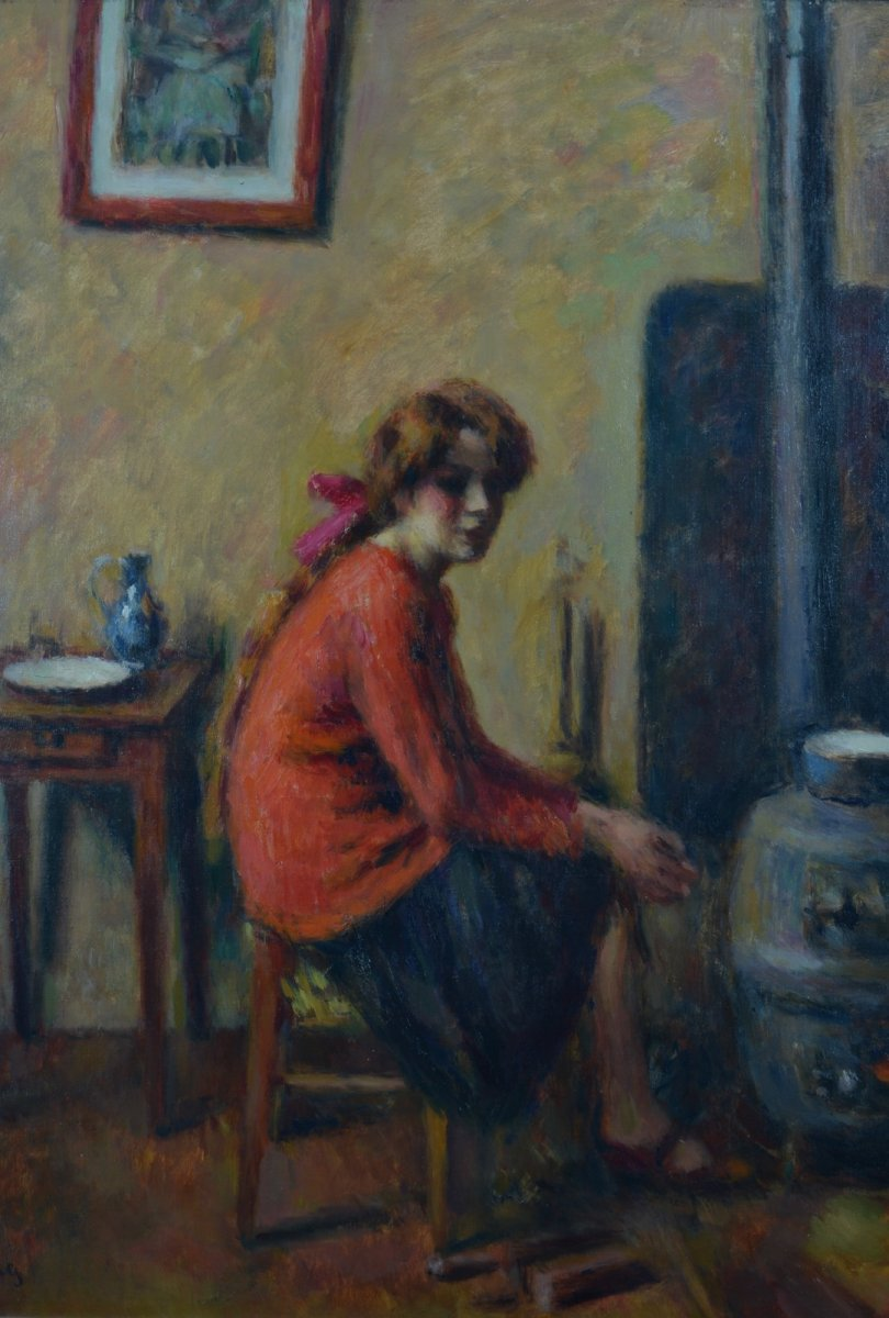 Table Old Portrait Young Woman In The Workshop Charles Guerin Paris Fauvism Expo Japan 190