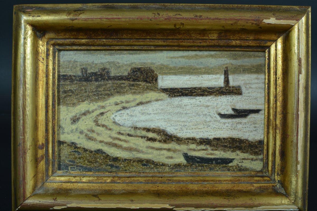Rare Tableau Ancien Symboliste Marine Phare Port Breton Andre Even Pont Aven Maurice Denis-photo-2