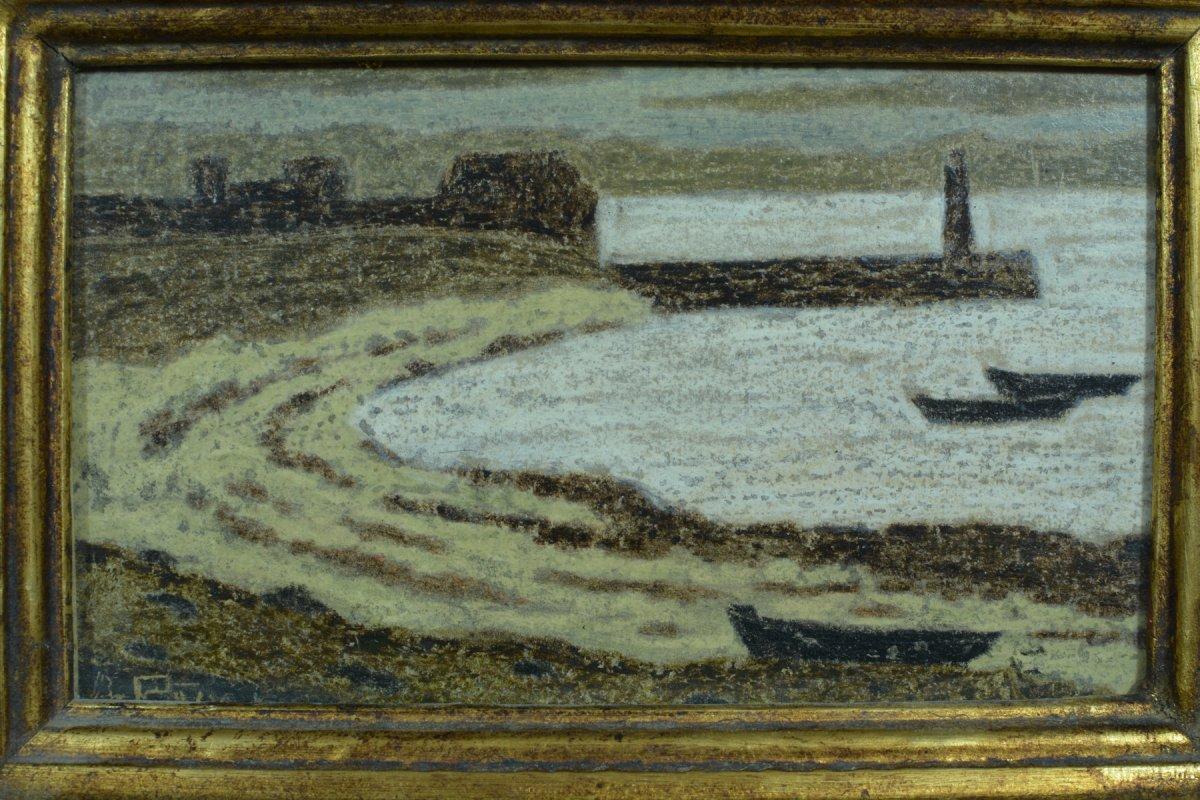 Rare Tableau Ancien Symboliste Marine Phare Port Breton Andre Even Pont Aven Maurice Denis-photo-1
