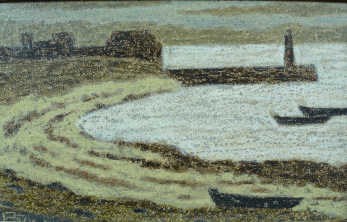 Rare Tableau Ancien Symboliste Marine Phare Port Breton Andre Even Pont Aven Maurice Denis-photo-3