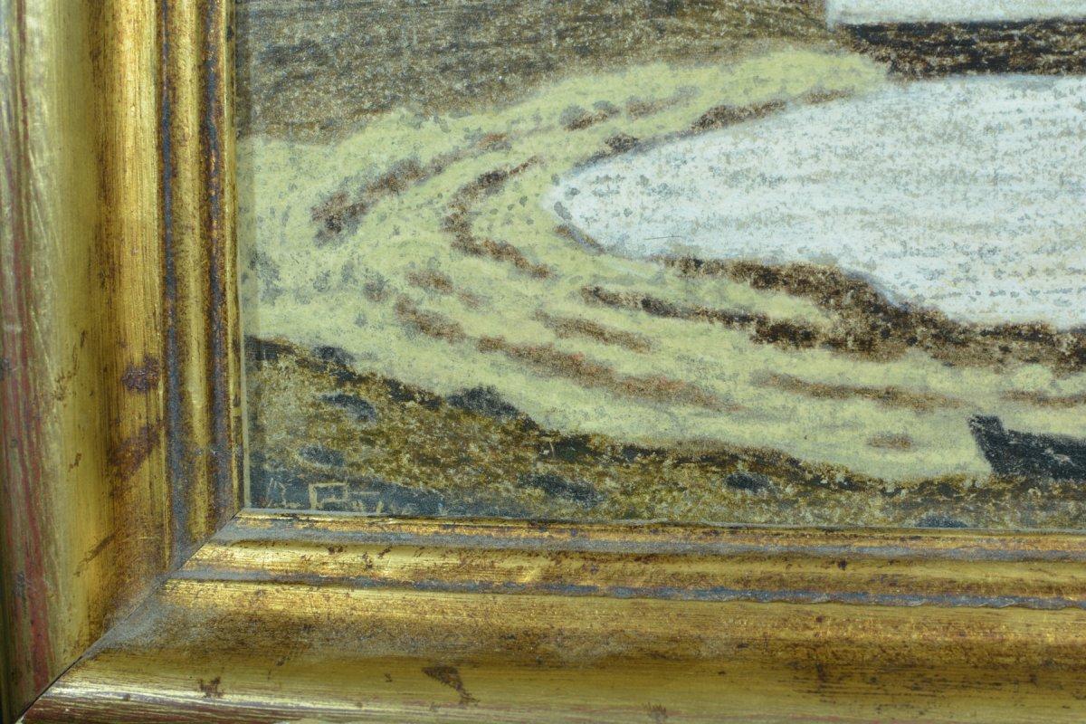 Rare Tableau Ancien Symboliste Marine Phare Port Breton Andre Even Pont Aven Maurice Denis-photo-4