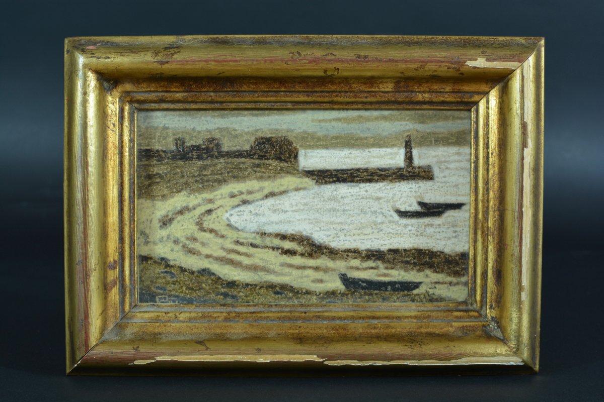 Rare Tableau Ancien Symboliste Marine Phare Port Breton Andre Even Pont Aven Maurice Denis-photo-6