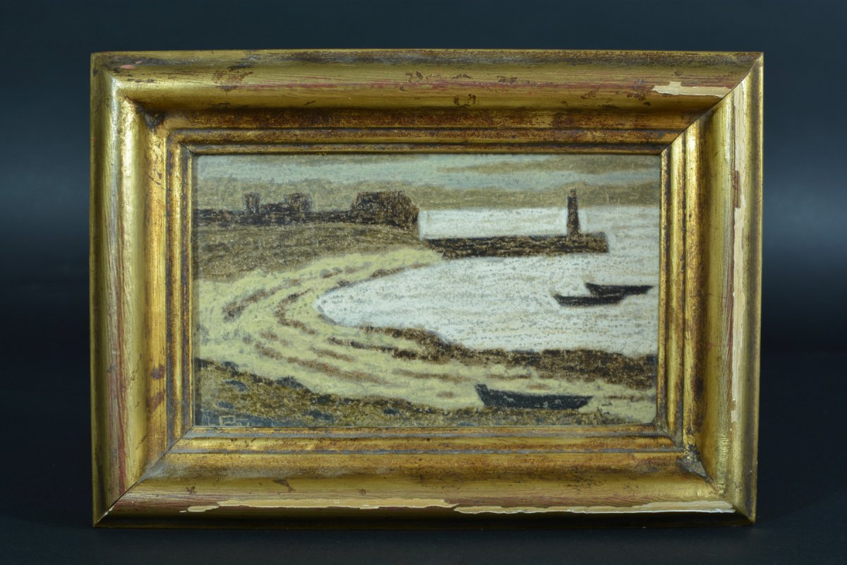 Rare Tableau Ancien Symboliste Marine Phare Port Breton Andre Even Pont Aven Maurice Denis