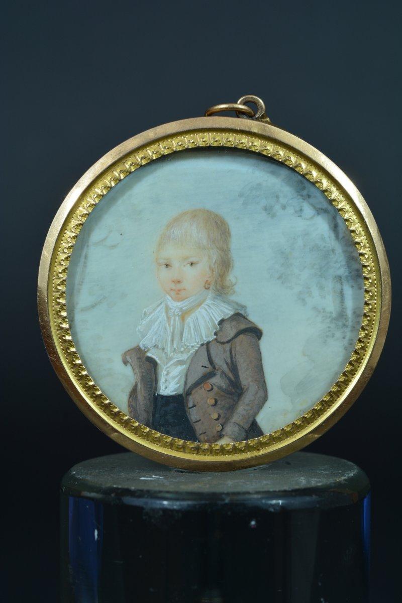 Rare Miniature Portrait Child Toulouse Knight De Molis De Saint-laurent Gold 1798