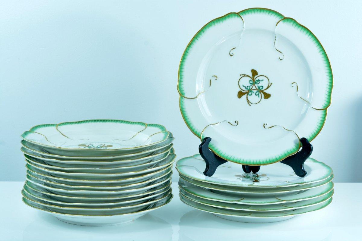 Ancien Service Porcelaine Meissen Feuille De Choux Sevres Louis XVI 18 Assiettes Punktzeit 18 E