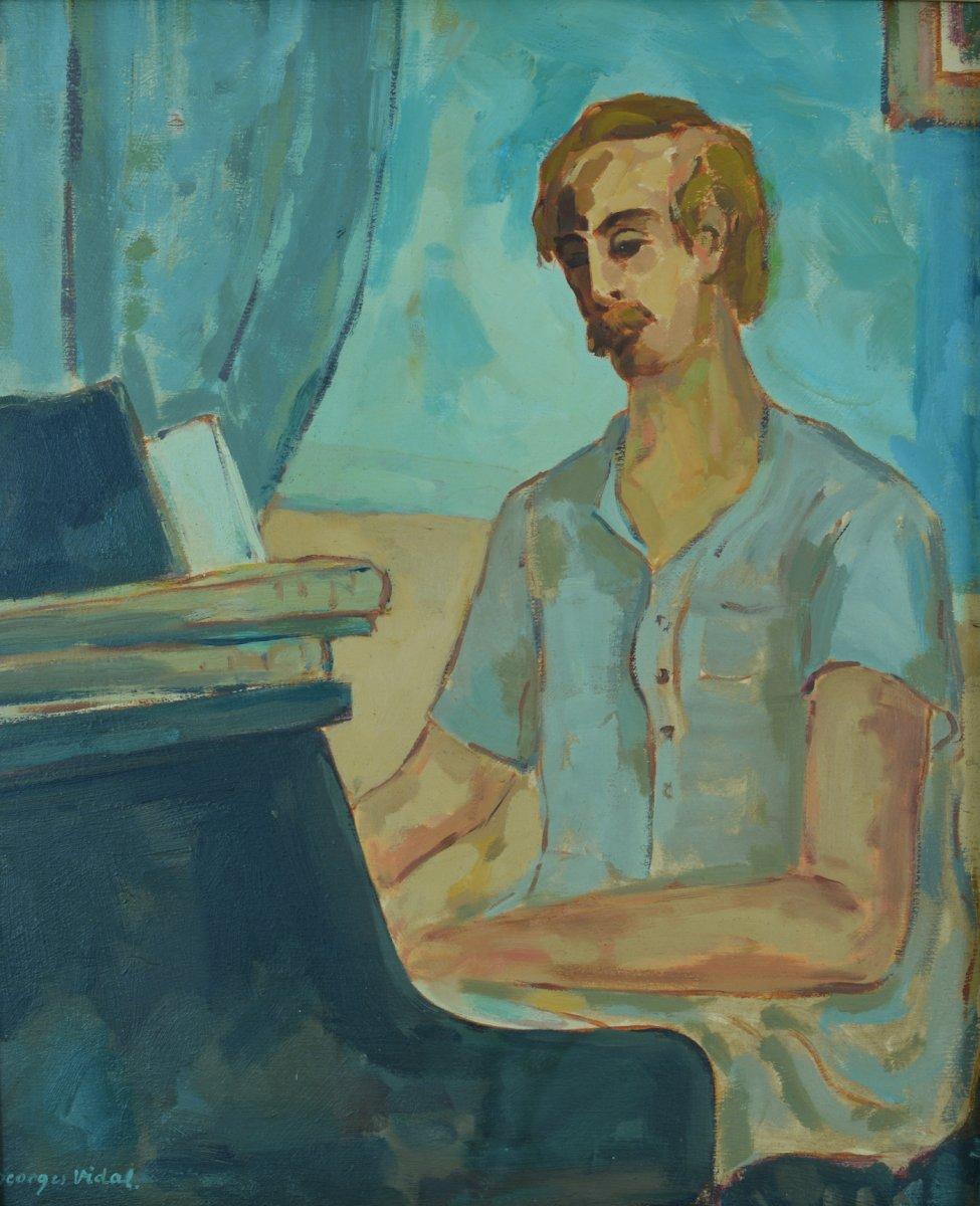 Tableau Ancien Portrait Pianiste Philippe Blacher Réalité Poétique Georges Vidal