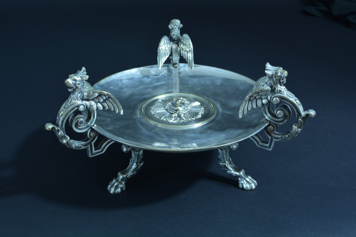Large Table Centerpiece Silver Bronze With 3 Dragons Mascaron Napoleon 3