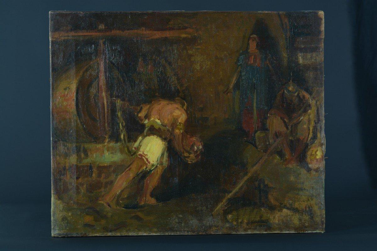 Beau Tableau Ancien Portrait Samson Tournant La Meule Chrétien Bible éc. Française19e-photo-3