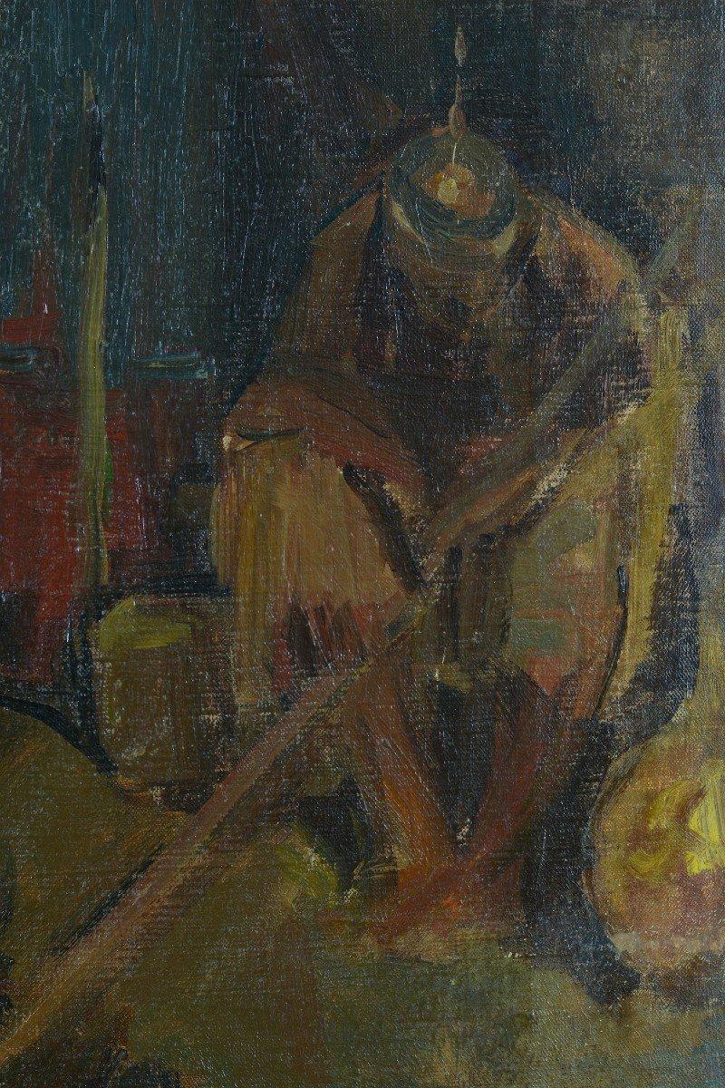 Beau Tableau Ancien Portrait Samson Tournant La Meule Chrétien Bible éc. Française19e-photo-1