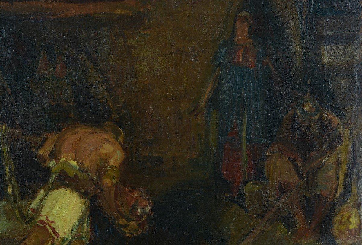 Beau Tableau Ancien Portrait Samson Tournant La Meule Chrétien Bible éc. Française19e-photo-2