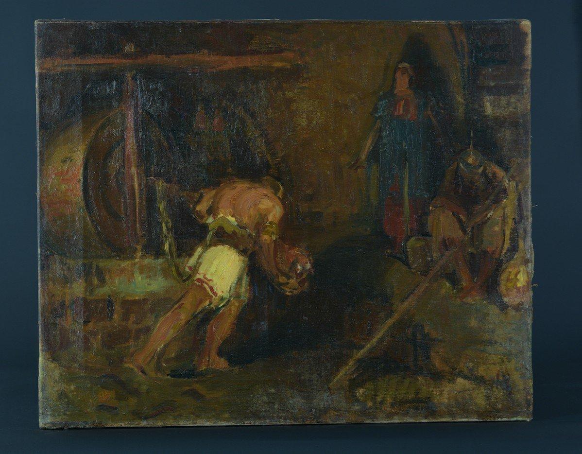 Beau Tableau Ancien Portrait Samson Tournant La Meule Chrétien Bible éc. Française19e-photo-4
