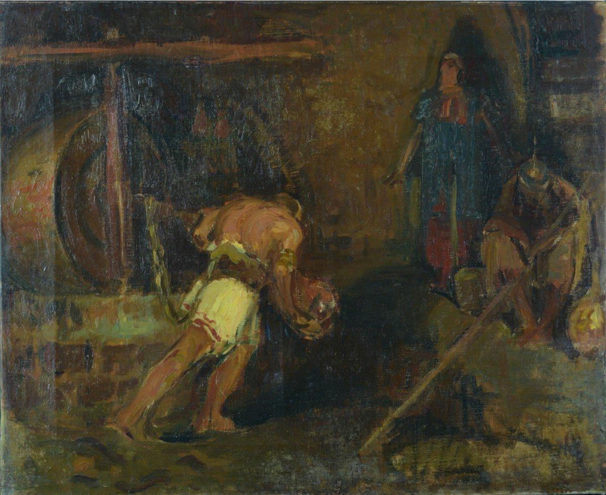 Beau Tableau Ancien Portrait Samson Tournant La Meule Chrétien Bible éc. Française19e