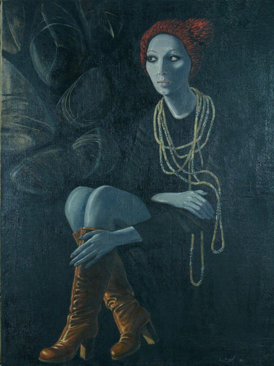 Grand Tableau Moderne Louis Augé Mode 70 Vintage Portrait Femme Botte Rouge Déco design Vintage-photo-5