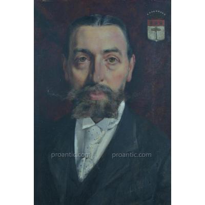 beau Tableau Ancien Portrait d'Homme Comte Couronne Comtale Aristocrate Bacchantes Napoléon 3