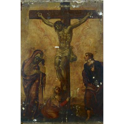 Rare Tableau Religieux 16Ème École Veneto Cretoise Crucifixion