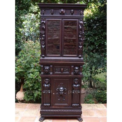 Rare Stipo Meuble Bois Sculpté Ange Lion Secretaire Cabinet De Curiosité Italie Rare Décoration