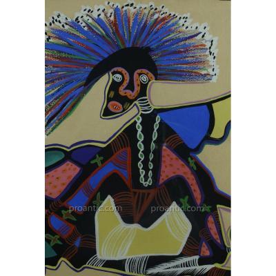 Rare Tableau 1950 Marcel Gotene Danse et masque Poto Poto x2