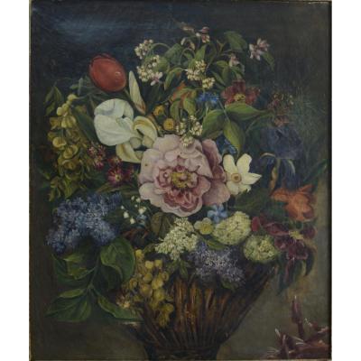 Beau Tableau Nature Morte Bouquet De Fleurs Sv Lepage Lyon