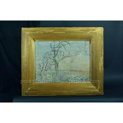 Painting Old 19th Signed Pointilist Landscape Trees Lemaitre Elv. Seurat Rare