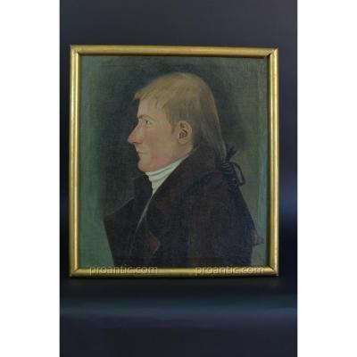 Tableau  Portrait Homme De Profil Au Catogan Normandie 18e St Carmontelle Hst