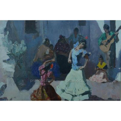 Tableau Danseuse Flamenco Guitare Gitans Sacromonte Paul BazÉ Bayonne Basque