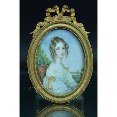 Rare Miniature Ivoire s. George Hayter Ec. Anglaise Portrait Jeune Femme Paysage