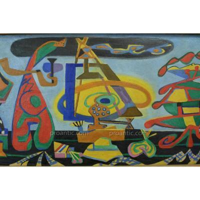 Rare Tableau Surréaliste Vienne Goebel 1940 Portait Sv Oscar Dominguez