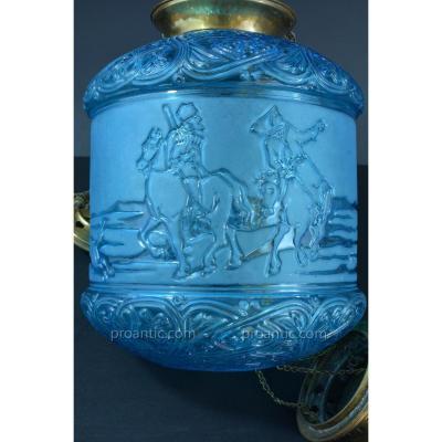Lampe Lanterne Signée Baccarat Bleu Pétrole Russian Cossacks Hanging Lantern 19e