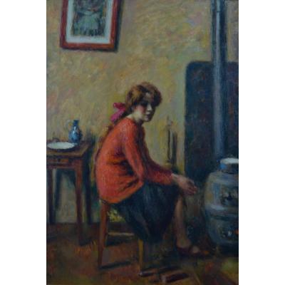 Tableau Ancien Portrait Jeune Femme Dans l'Atelier Charles Guerin Paris Fauve  Expo Japon 1907  Van Donguen