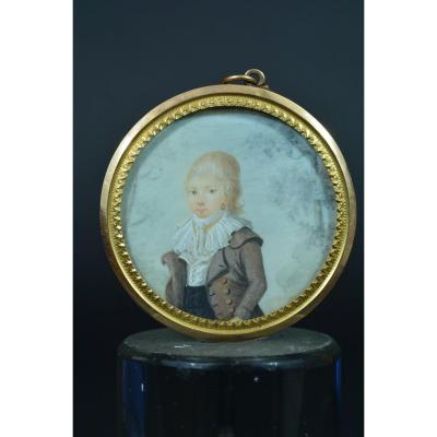 Rare Miniature Portrait Child Toulouse Knight De Molis De Saint-laurent Gold 1798
