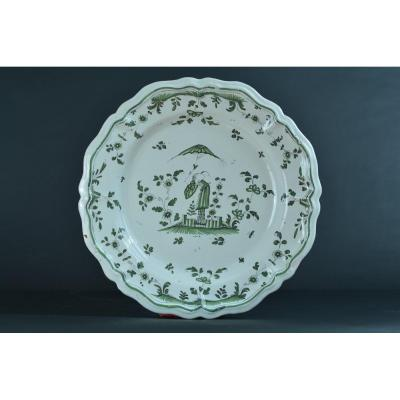 Rare Faience Of Moustiers Large Chinese Dish In The Umbrella 18th Collection