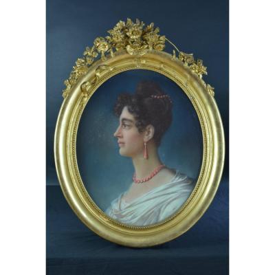 Tableau Ancien Pastel Portrait Jeune Femme Costume Prud'hon 1er Empire Diadème