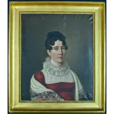 Antique Old Portrait Of Young Woman In Provencal Shawl Empire Consulate Baron Gros