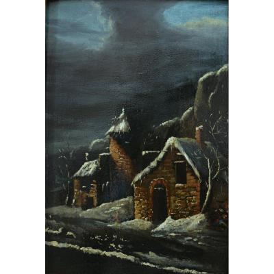 Beau Tableau Ancien Paysage Nocturne Sous La Neige Animé Sv Claude Malbranche