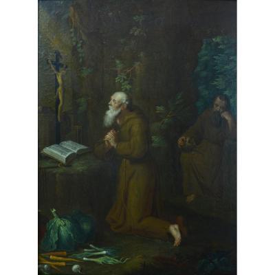 Tableau Ancien Diptyque Religieux Flamand Pieter Snyers Saint Hermite Antoine Paul