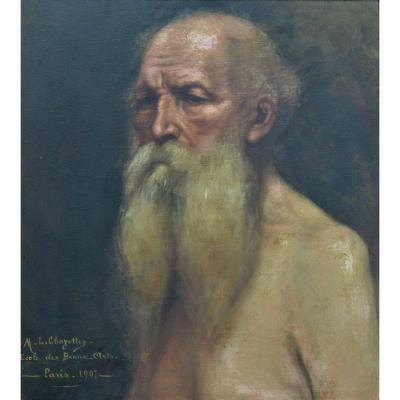 Beau Tableau Ancien Portrait De Vieillard Art Nouveau Job Académie école Des Beaux Arts Paris
