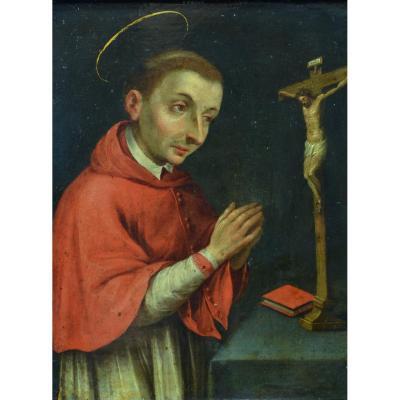 Beau Tableau Ancien Religieux 17ème Portrait De  Saint Charles de Borromée Cuivre Flamand