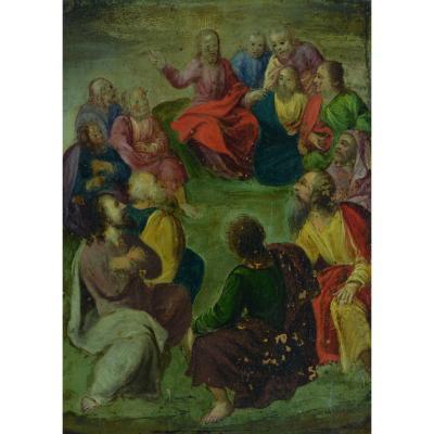 rare Tableau Ancien Religieux 17 ème Christ 12 Apôtres Mont Des Oliviers Flamand