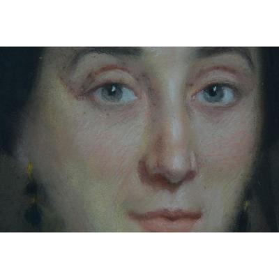 Tableau Ancien Portrait Jeune Femme Jean Pierre  Monseret Ornaisons Ministre Turrel Aude