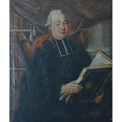 Beau Tableau Ancien Portrait d'Un Abbé Dans Sa Bibliothèque Sophonie 18 ème