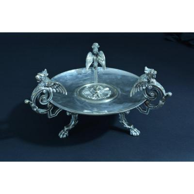 Grande Coupe Centre De Table Bronze Argenté Aux 3 Dragons Mascaron Napoleon 3