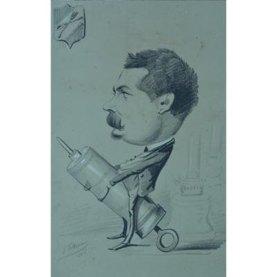 Ancien Dessin Caricature Portrait Fac De Médecine Dandy Clister Carabin Nap. 3