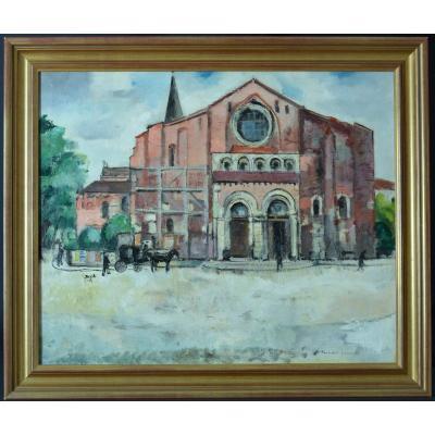 Grand Tableau Paysage Animé Bernard Lamotte Place Saint Sernin Toulouse Art Deco