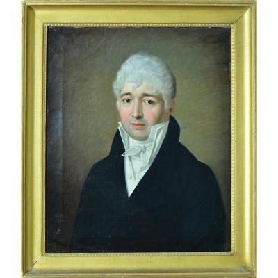 Tableau Ancien Portrait Empire 1813 G.R signe Homme Redingote  David Atelier