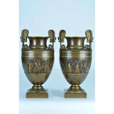 Paire De Grands Vases Cratère BARBEDIENNE Bronze doré  Antique Anse Mascaron Bacchanales  Clodion 19e X2