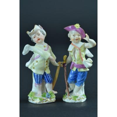 2 Old Meissen Statuettes 18th Porcelain Putti Amour Cherub Victor Steel 18th