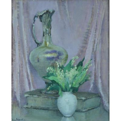Antique Art Deco Painting Still Life Bouquet Of Flowers Ewer Book Lily Of The Valley Seguela